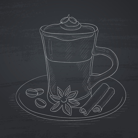 Coffee cup with anise, sticks of cinnamon and coffee beans on saucer. Coffee hand drawn in chalk on a blackboard. Coffee vector sketch illustration.
