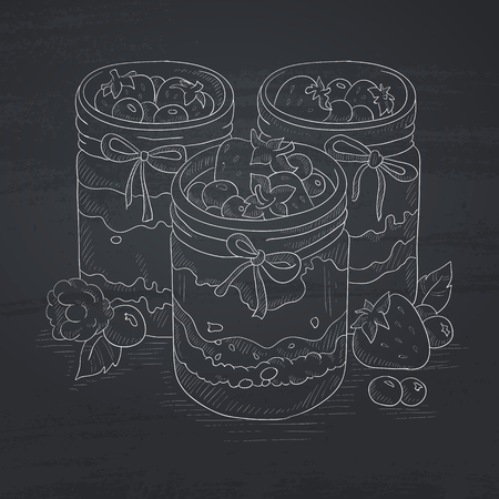 hand jam: Jam in glass jars and fresh berries. Jam jar hand drawn in chalk on a blackboard. Jam jar vector sketch illustration.