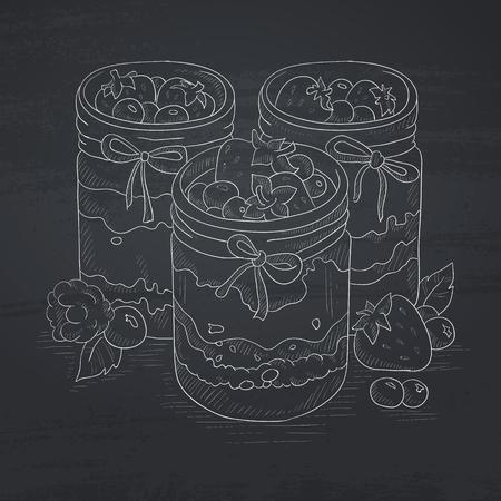 Jam in glazen potten en verse bessen. Jampot de hand getekend met krijt op een schoolbord. Jampot vector schets illustratie. Stock Illustratie