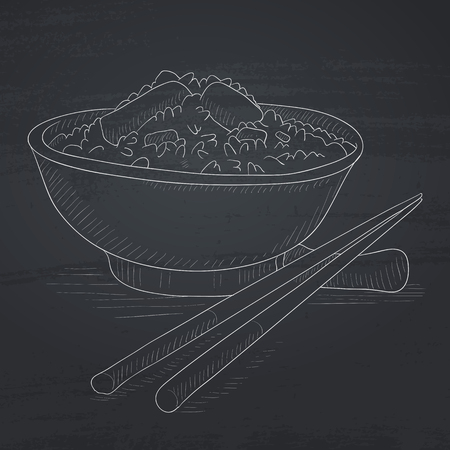 Bowl of boiled rice with chopsticks. Bowl of boiled rice hand drawn in chalk on a blackboard. Bowl of boiled rice vector sketch illustration.