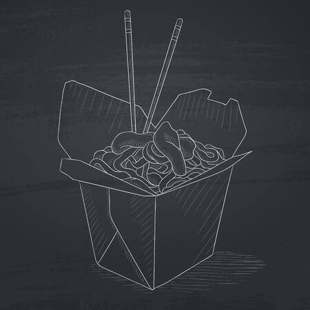 chinese take away container: Chinese food and chopsticks in a takeaway container. Chinese food hand drawn in chalk on a blackboard. Chinese food vector sketch illustration. Illustration