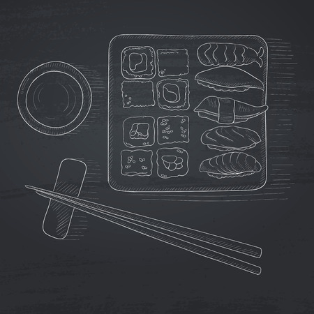 plate of food: Various kinds of sushi served on a plate. Sushi hand drawn in chalk on a blackboard. Sushi vector sketch illustration. Illustration