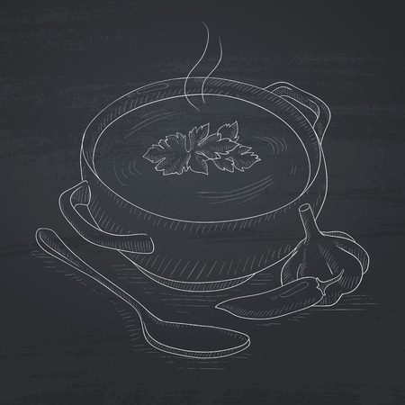 Pot of hot soup. Soup hand drawn in chalk on a blackboard. Soup vector sketch illustration.