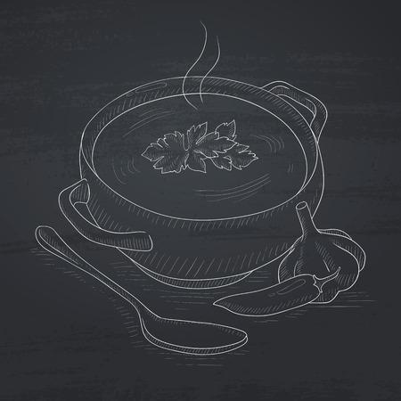 Topf mit heißer Suppe. Suppe Hand mit Kreide auf eine Tafel gezeichnet. Suppe Vektor Skizze Illustration. Standard-Bild - 57009356