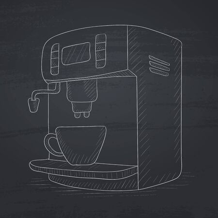 coffee maker: Coffee maker with cup. Coffee maker hand drawn in chalk on a blackboard. Coffee maker vector sketch illustration. Illustration
