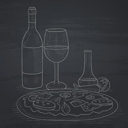 Pizza met een fles wijn en een glas. Pizza met de hand getekend met krijt op een schoolbord. Pizza vector schets illustratie.