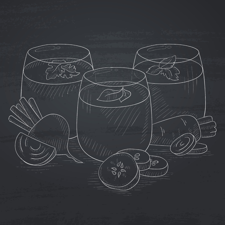 squeezed: Freshly squeezed vegetable juices from cucumber, beet and carrot. Squeezed vegetable juices hand drawn in chalk on a blackboard. Squeezed vegetable juices vector sketch illustration. Illustration