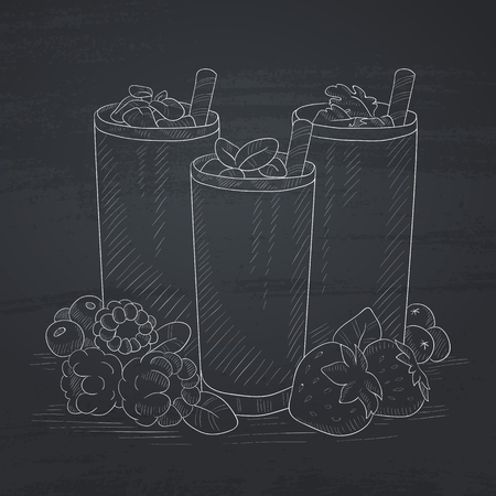 blended: Various fresh berries smoothies in glasses with straw. Smoothies hand drawn in chalk on a blackboard. Smoothies vector sketch illustration. Illustration