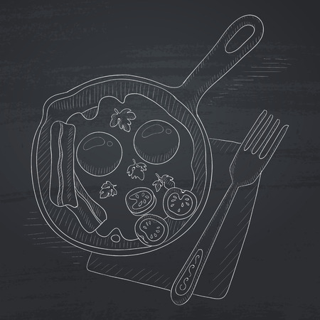 Fried eggs with bacon on frying pan. Fried eggs with bacon hand drawn in chalk on a blackboard. Fried eggs with bacon vector sketch illustration. Illustration
