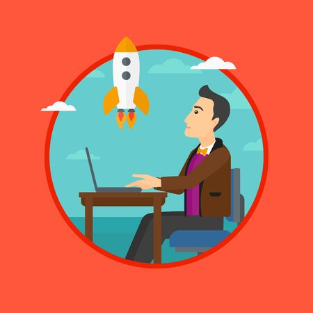A businessman sitting at the table in front of laptop and looking at a flying rocket. Business start up concept. Vector flat design illustration in the circle isolated on background.