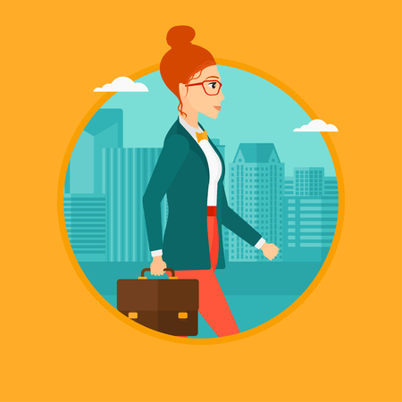 business woman: A successful business woman in glasses walking with a briefcase in city street. Vector flat design illustration in the circle isolated on background. Illustration