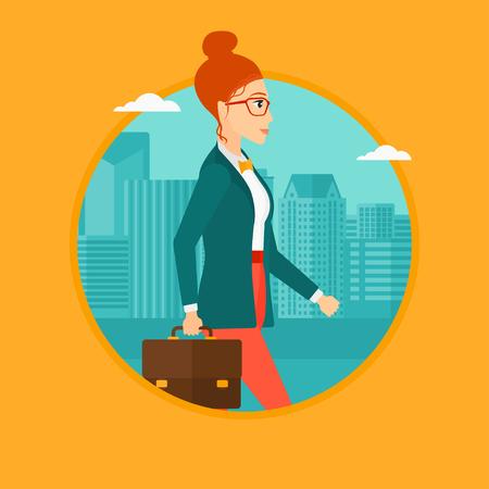 Eine erfolgreiche Geschäftsfrau in den Gläsern mit einem Aktenkoffer in der Stadt Straße. Vector flache Design, Illustration im Kreis auf Hintergrund.