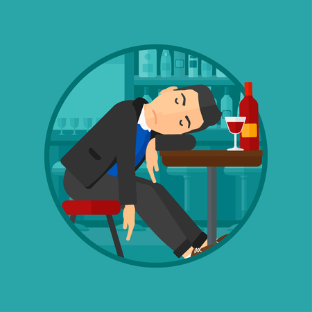 deeply: A drunk man deeply sleeping near the bottle of wine and a glass on a table in pub. Alcohol addiction concept. Vector flat design illustration in the circle isolated on background.