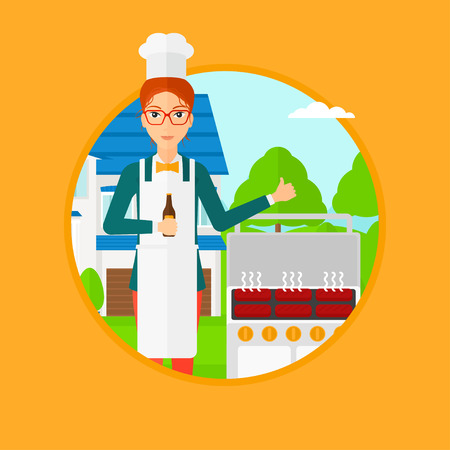 gas barbecue: A smiling woman with bottle in hand cooking meat on gas barbecue grill in the backyard and showing thumb up. Vector flat design illustration in the circle isolated on background.