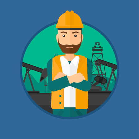 oil worker: A hipster oil worker in uniform and helmet standing with crossed arms on pump jack background. Vector flat design illustration in the circle isolated on background.