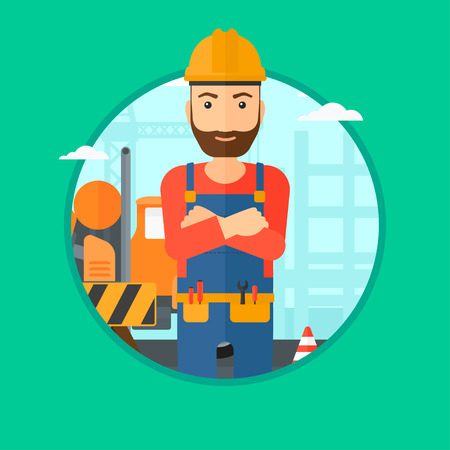 site: A confident hipster builder with the beard standing with arms crossed on a background of construction site. Vector flat design illustration in the circle isolated on background.