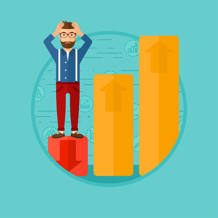 going down: A frightened bankrupt clutching his head. Bankrupt standing on chart going down. Concept of business bankruptcy. Vector flat design illustration in the circle isolated on background. Illustration