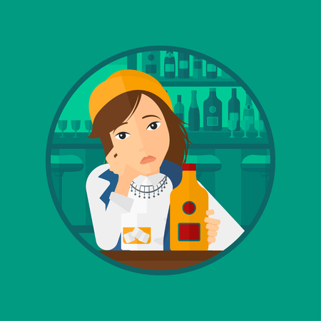 A sad young woman with alcohol drinks sitting in bar. Woman drinking alcohol alone. Vector flat design illustration in the circle isolated on background.