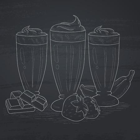 Banaan, aardbeien en chocolade smoothies. Smoothies de hand getekend met krijt op een schoolbord. Smoothies vector schets illustratie. Stock Illustratie
