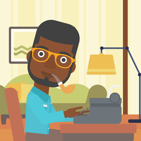 article writing: An african-american reporter writing an article on typewriter and smoking pipe on the background of living room vector flat design illustration. Square layout.
