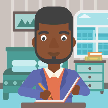 article writing: An african-american man sitting at the table and writing an article in writing-pad on the background of bedroom vector flat design illustration. Square layout.