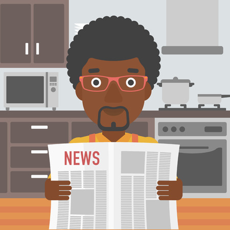 newsman: An african-american man reading the newspaper on the background of kitchen vector flat design illustration. Square layout.
