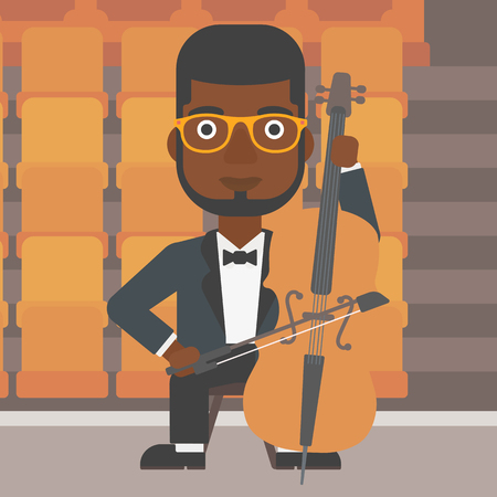 theater man: An african-american man playing cello on the background of empty theater seats vector flat design illustration. Square layout.