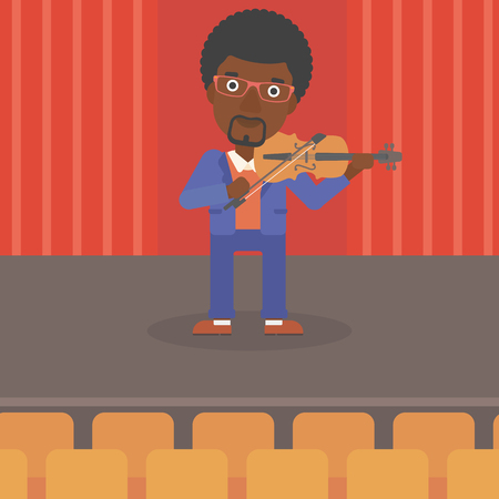fiddlestick: An african-american man  playing violin on the stage vector flat design illustration. Square layout.