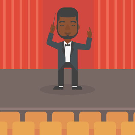 maestro: An african-american man directing with his baton on the stage vector flat design illustration. Square layout.