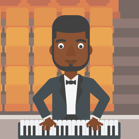 theater man: An african-american man playing piano on the background of empty theater seats vector flat design illustration. Square layout. Illustration