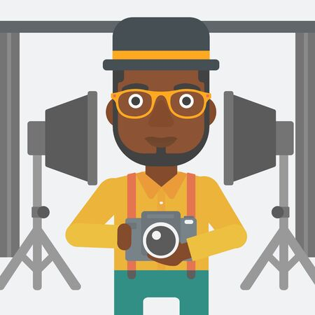 lighting equipment: An african-american man holding a camera on the background of photo studio with lighting equipment vector flat design illustration. Square layout.