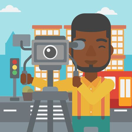 An african-american man looking through movie camera on a city background vector flat design illustration. Square layout.