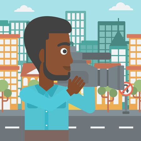 cinematograph: An african-american cameraman with video camera taking a video on a city background vector flat design illustration. Square layout.