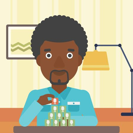 chat room: An african-american man making pyramid of avatars on the background of living room vector flat design illustration. Square layout. Illustration
