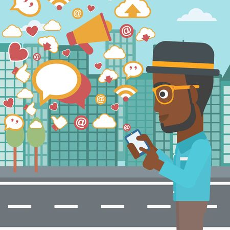 man flying: An african-american man using smartphone with lots of social media application icons flying out on a city background vector flat design illustration. Square layout.