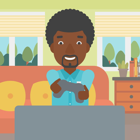 enthusiastic: An enthusiastic african-american man sitting on a sofa with gamepad in hands in living room vector flat design illustration. Square layout.