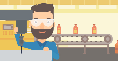 A hipster man with the beard working with a drilling machine on the background of factory workshop with conveyor belt vector flat design illustration. Horizontal layout. 일러스트