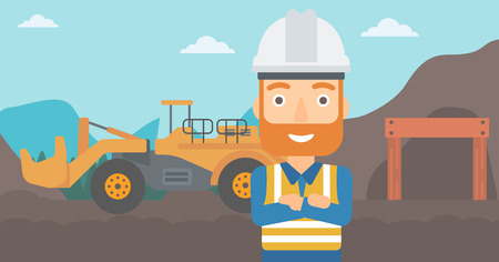 mining equipment: A miner standing in front of a big mining equipment on the background of coal mine vector flat design illustration. Horizontal layout.