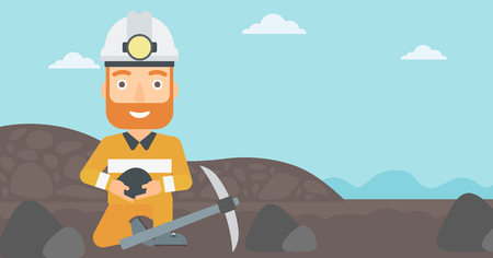 heavy industry: A hipster man sitting with coal in hands and a pickaxe on the background of coal mine vector flat design illustration. Horizontal layout.