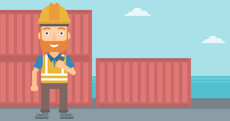 A hipster man with the beard talking to a portable radio on cargo containers background vector flat design illustration. Horizontal layout.