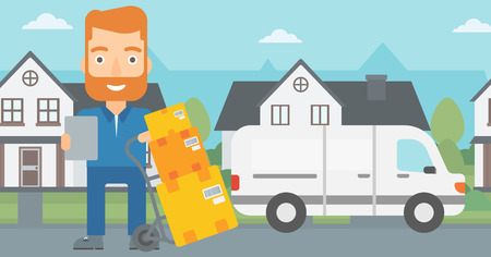 A delivery man standing near cart with boxes and holding a file in a hand on the background of delivery truck and a house vector flat design illustration. Horizontal layout. Illustration