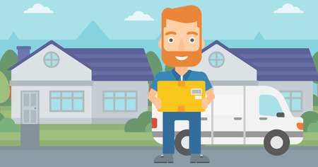 A delivery man carrying box on the background of delivery truck and a house vector flat design illustration. Horizontal layout.