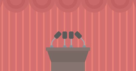 briefing: Background of tribune speech with microphones vector flat design illustration. Horizontal layout.