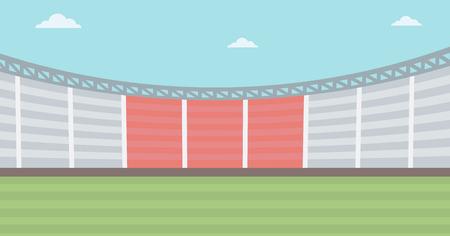 outdoor seating: Background of football stadium vector flat design illustration. Horizontal layout.
