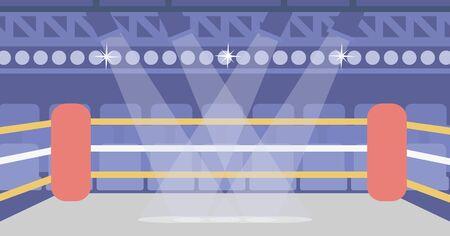 Background of boxing ring vector flat design illustration. Horizontal layout.