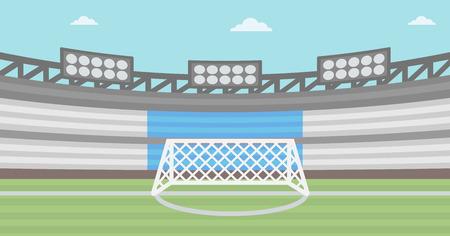 football stadium: Background of football stadium vector flat design illustration. Horizontal layout.