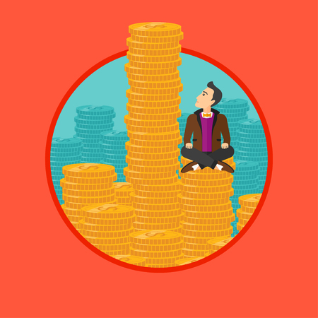 A businessman sitting on stack of golden coins and looking up to the biggest one. Vector flat design illustration in the circle isolated on background.