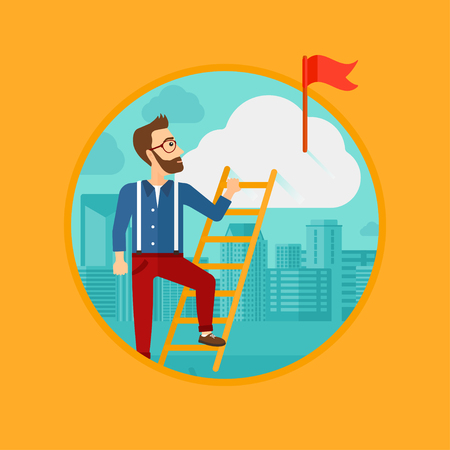 stair climber: A hipster man with the beard holding the ladder to get the red flag on the top of the cloud. Vector flat design illustration in the circle isolated on background.