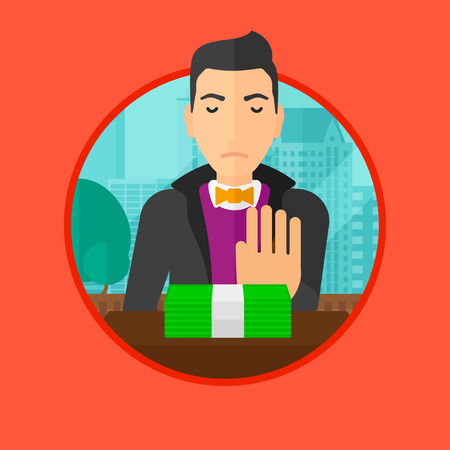 moving office: A man sitting in office and moving dollar bills away. Vector flat design illustration in the circle isolated on background. Illustration