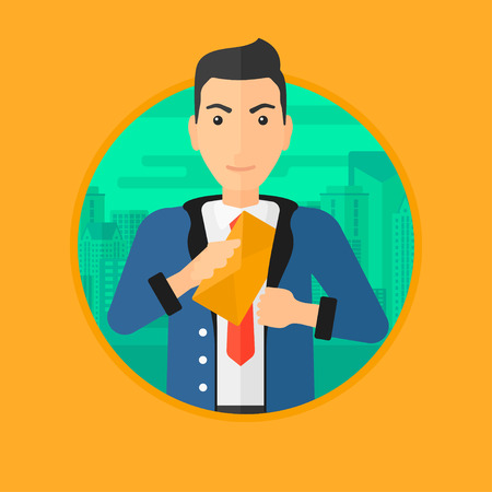 A businessman putting an envelope in his pocket on a city background. Vector flat design illustration in the circle isolated on background.